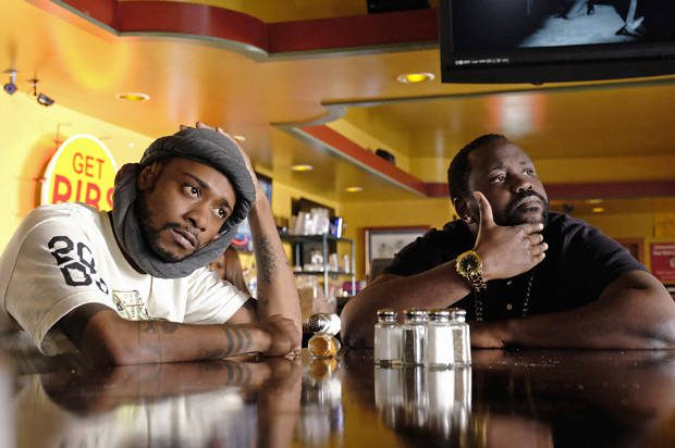 """ATLANTA -- """"Streets On Lock"""" --  Episode 102 (Airs Tuesday, September 6, 10:30 pm e/p) Pictured: (l-r) Keith Stanfield as Darius, Brian Tyree Henry as Alfred Miles. CR: Guy D'Alema/FX"""