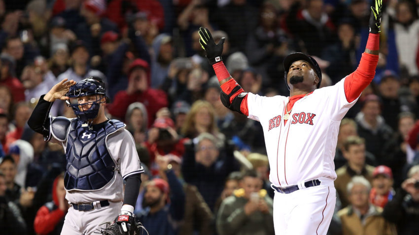 BOSTON, MA - APRIL 29:  David Ortiz  #34 of the Boston Red Sox celebrates after hitting a two-run home run in the eighth inning during the game against the New York Yankees at Fenway Park on April 29, 2016 in Boston, Massachusetts.  (Photo by Adam Glanzman/Getty Images)