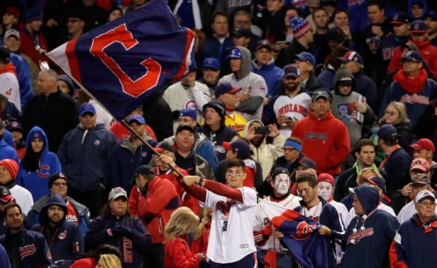 CLEVELAND, OH - OCTOBER 25: Cleveland Indians fans cheer during Game One of the 2016 World Series against the Chicago Cubs at Progressive Field on October 25, 2016 in Cleveland, Ohio. (Photo by Jamie Squire/Getty Images)